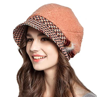 583f26088de FADVES Women Dress Hats Winter Wool Felt Crochet Beret Newsboy Snow Ski Caps  at Amazon Women s Clothing store