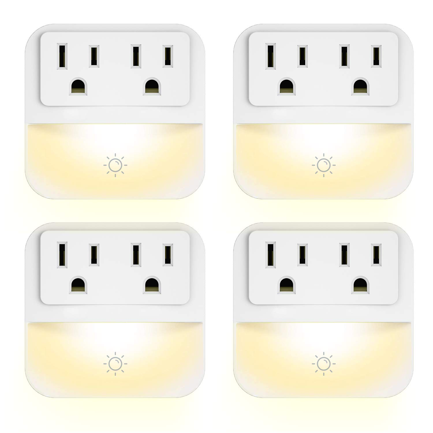 Plug-in Night Light with 2-Outlet Extender, POWRUI Warm White LED Nightlight with Dusk-to-Dawn Sensor for Bedroom, Bathroom, Kitchen, Hallway, Stairs, 4-Pack by POWRUI