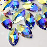 Horse Eye Crystal AB Sew On Rhinestones Flatback Rhinestones for Clothes Crafts Sewing Beads Decorations K9 Glass (9x18mm 36p