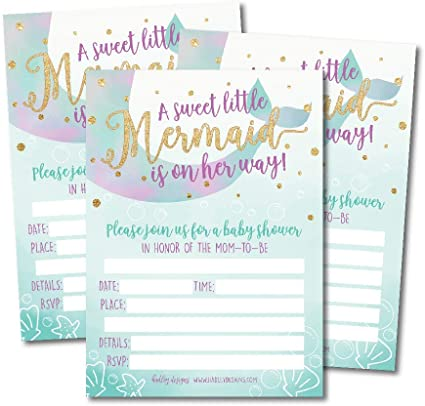 Amazon Com 25 Mermaid Baby Shower Invitations Sprinkle Invite For Girl Under The Sea Nautical On Her Way Cute Printed Fill Or Write In Blank Printable Card Unique Modern Coed Twin Party Paper