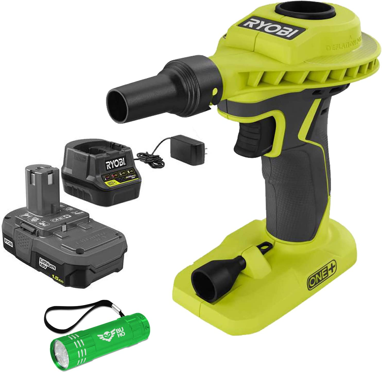 18-Volt Charger and Buho Flashlight 1.3 Ah Battery and 1 1 Ryobi P738 High Volume Air Inlfator Bundle;18-Volt ONE+ Lithium-Ion Cordless Power Inflator with
