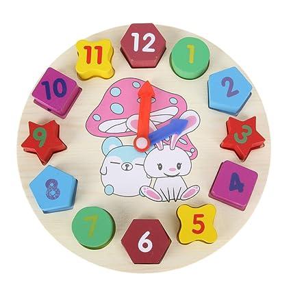 vanpower DIY 3d reloj de pared, reloj digital dibujo animado reloj de madera Puzzle cuadro