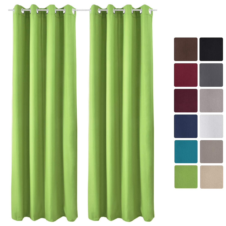 Beautissu Lot de 2 Rideaux Thermique Turquoise uni Opaque à oeillet Amelie - 140x245 cm - Isolant uni à Anneaux
