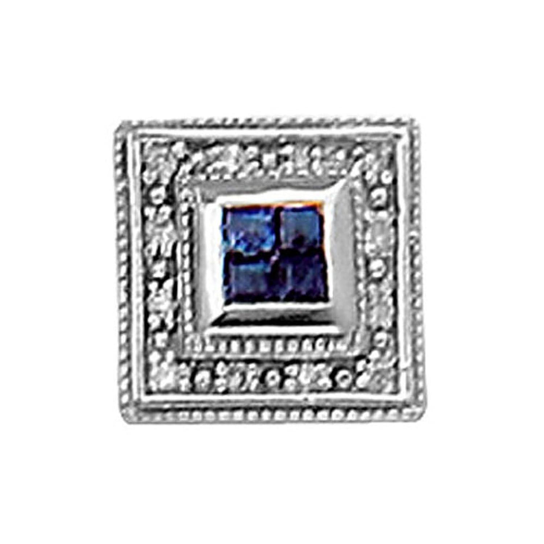 14K White Gold Classy Diamond and Sapphire Tie Tac-86626