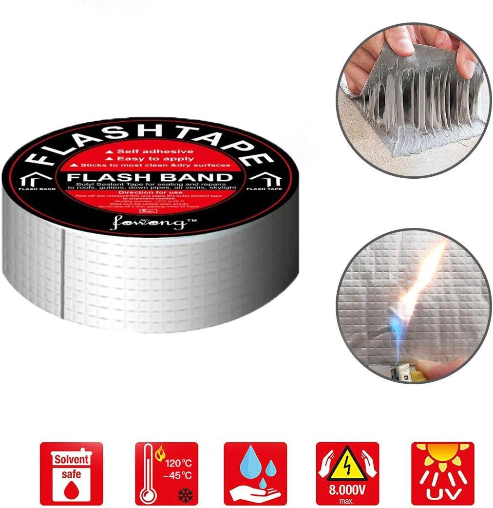 W 30mm reparaci/ón de aluminio Cinta de sellado Sellador para reparaci/ón de grietas canalones y orificios en el techo L Cinta de butilo para reparaci/ón de techos y fugas x 5M