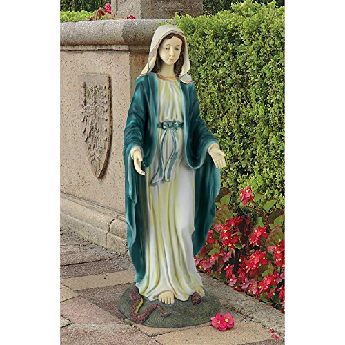 Design Toscano Virgin Mary the Blessed Mother of the Immaculate Conception Religious Garden Statue, 23 Inch, Polyresin, Full Color