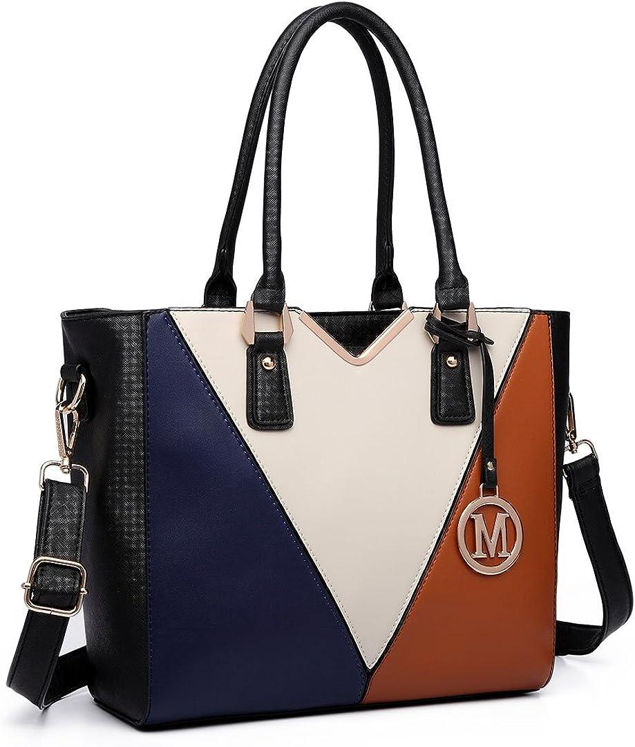 Miss Lulu Ladies Leather Handbag V Shape Patchwork Design Shoulder Tote Bag for Women Girls