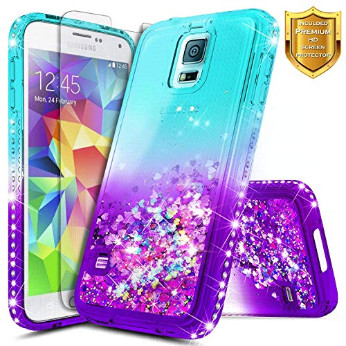 S5 Case, Galaxy S5 Glitter Case w/[Screen Protector Premium Clear], NageBee Glitter Liquid Quicksand Waterfall Flowing Sparkle Bling Diamond Girly Cute Case for Samsung Galaxy S5 -Aqua/Purple