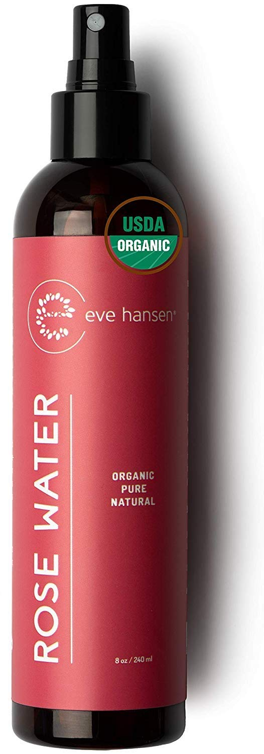 Organic Rose Water Spray - Pure Rosewater Toner and Pore Minimizer - Facial Toner for Skin and Eyes To Reduce Dark Circles, Soothe Puffy Eyes, and Redness - 8 Ounces - Eve Hansen