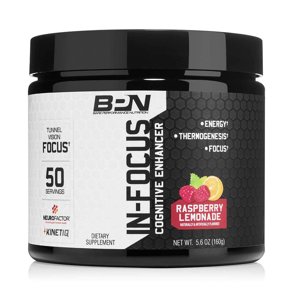 Bare Performance Nutrition in-Focus Cognitive Enhancer Thermogenic, Nootropic Energy 50 Servings, Raspberry Lemonade
