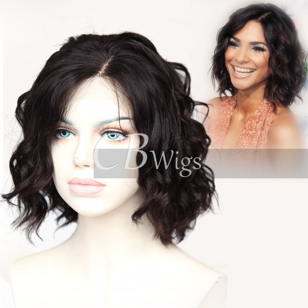 Cbwigs Glueless Short Bob Curly Human Hair Lace Front Wig with Baby Hair for Black Women 4.5 inch Deep Parting Loose Curly Full Wigs Natural Color 150% Density (10 inch)