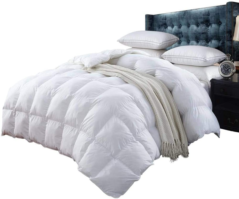 Egyptian Bedding Luxurious 1200 Thread Count Queen 1200TC Siberian Goose Down Comforter 750FP, White 1200 TC
