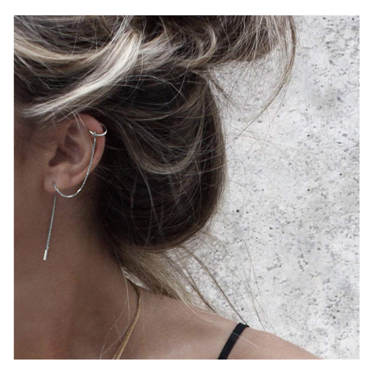 SLUYNZ 925 Sterling Silver Cuff Chain Earrings Wrap Tassel Earrings for Women Crawler Earrings (silver) by SLUYNZ