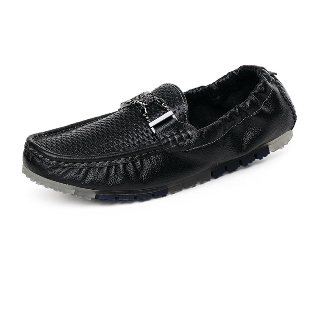 Männer Fahren Penny Loafers hohlen Metall oberen Boot Mokassins mit Metall hohlen Dekor & hinten elastisch Schwarz efae32