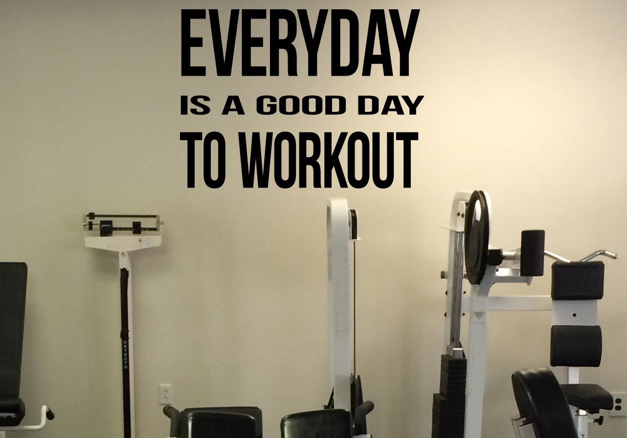 Daily Motivation Everyday Is a Good Day to Workout Vinyl Decal Fitness Gym Decor Wall Sticker Workout Room Interior 28(fgm)