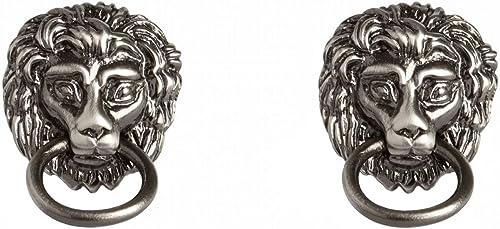 Simon Carter Mens Lion Head Door Knocker Cufflinks Silver