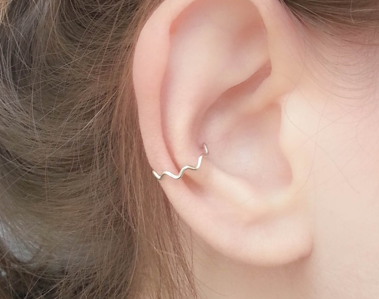 Tiny Ear Cuff Chevron Clip On Wrap Earring Sterling Silver