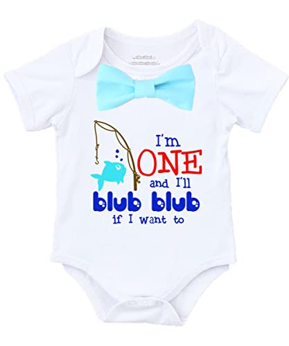 1d851a7e Amazon.com: Fish Fishing First Birthday Shirt Outfit Boy One Aqua Bow Tie:  Handmade