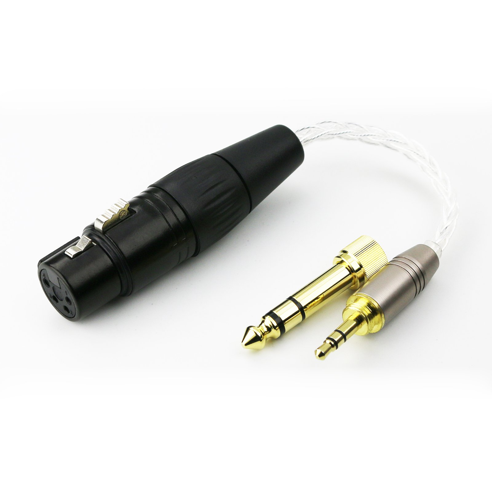 NewFantasia 3.5mm 1/8'' TRS Male & 6.3mm 1/4'' adapter to 4-pin XLR Balanced Female headphone Audio Adapter cable