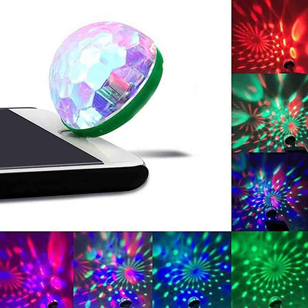 Party Light Ball, Creazy Hot USB Mini LED RGB Disco Stage Light Party Club DJ KTV Xmas Magic Phone Ball Lamp (Green, Type C Adapter)