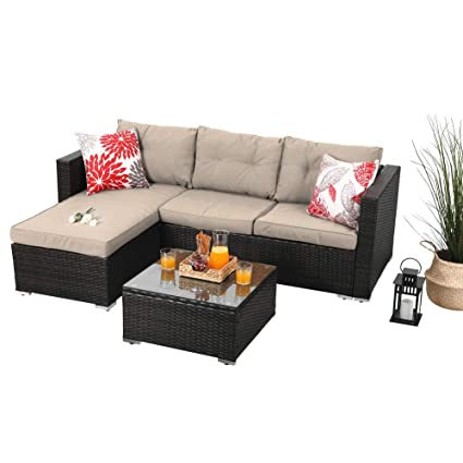 Amazon.com: PHI VILLA Outdoor Rattan Sectional Sofa- Patio Wicker ...