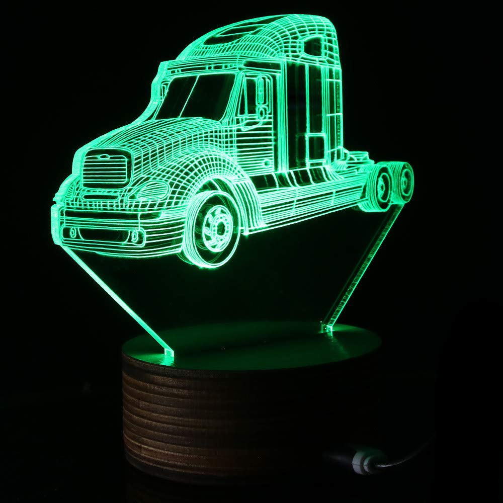 ZCLD 3D Truck Car LED Night Lamp Classic Pickup Truck Lighting Art Decor Vintage Autom/óvil Regalo para Camioneros