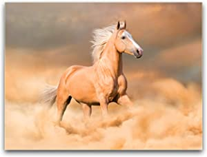 Purple Verbena Art Runing Horse Powerful Pictures Wall Art Canvas Print Painting for Home Living Room Hotel Office Home Wall Decor Gift 12x16 inches Framed Picture