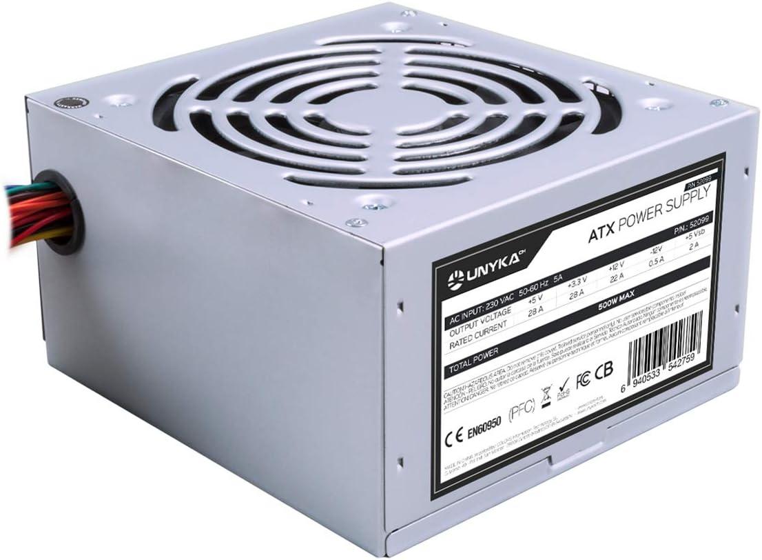 UNYKAch ATX 500W Unidad de - Fuente de alimentación (500 W, 230 V, 50-60 Hz, 28 A, 22 A, 28 A), Plata