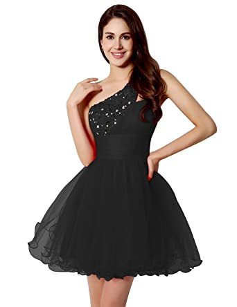 Sarahbridal Prom Dresses One-Shoulder Tulle Party Ball Dress With Sequins SSD230 Black Size UK