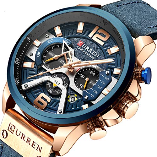 Watches, Men's Watch Blue Fashion Bussiness Chronograph Multifunction Calendar Date Waterproof Quartz Analog with Leather Strap Wrist Watch for Men
