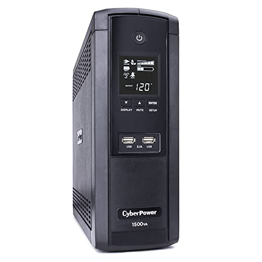 CyberPower BRG1500AVRLCD UPS 1500VA/900W 12 Outlets AVR LCD USB Ports Mini Tower