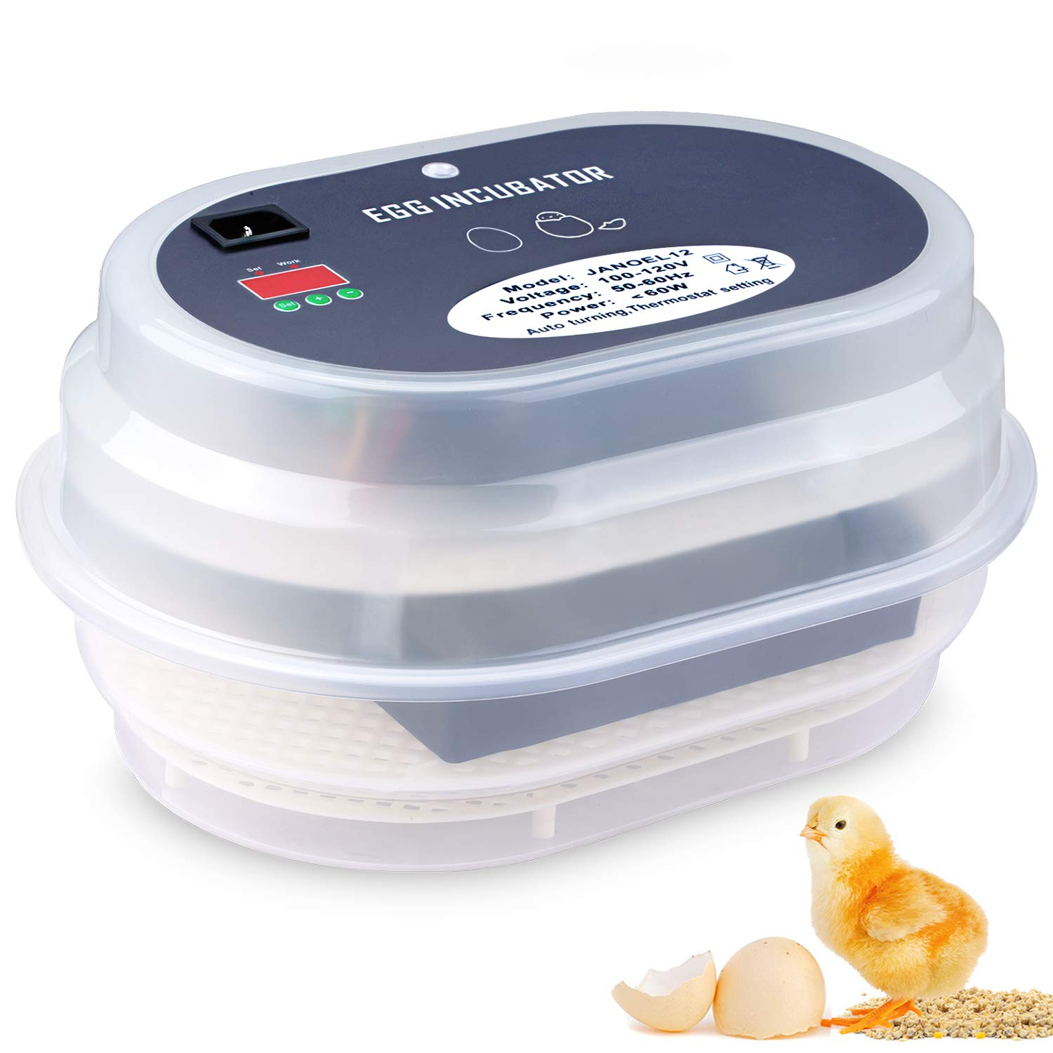 Egg Incubator, HBlife 9-12 Digital Fully Automatic Incubator for Chicken Eggs, Poultry Hatcher for Chickens Ducks Goose Birds by hblife