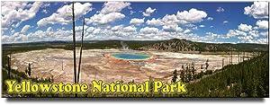 Yellowstone Grand Prismatic Geyser panoramic fridge magnet Wyoming travel souvenir