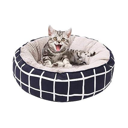 Cama para mascotas, cama de dormir, colchoneta de cojín redonda, suave peluche,