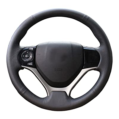 Eiseng DIY Sew Black Genuine Leather Steering Wheel Cover Stitch on Wrap for Honda Civic 2012 2013 2014 2015 interior Accessories 13.5-14.5 inches (Black thread): Automotive