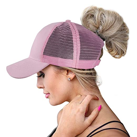 9a549e92d High Ponytail Baseball Hats Cap for  Women(Mesh/Glitter/Washed/Classic),Messy Bun Ponycaps Adjustable Cotton Sun  Baseball Cap