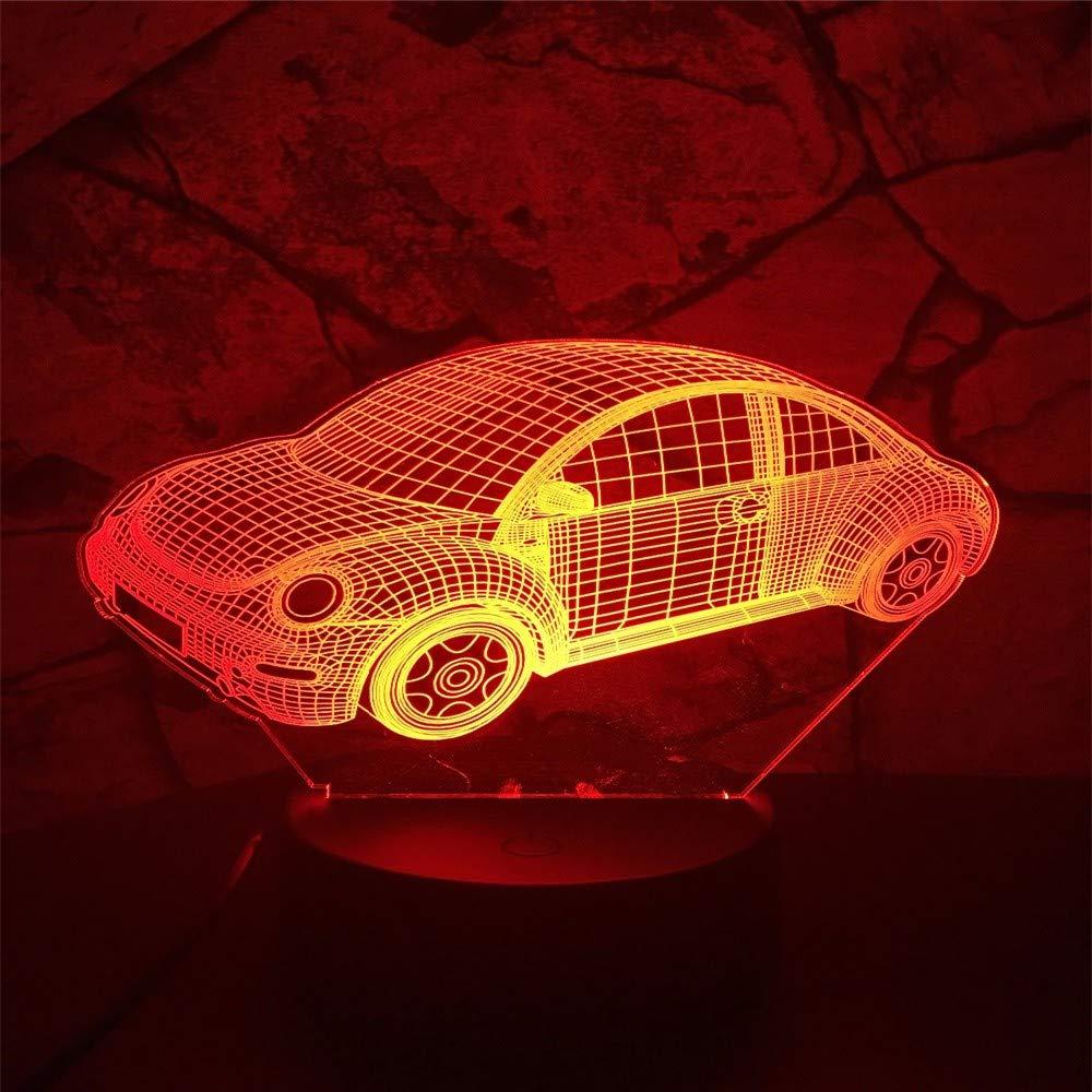 La ilusión óptica de la lámpara lámpara lámpara 3D llevó la luz de la noche, 7 colores, coche, toque la lámpara del interruptor del control remoto, batería USB/AA, regalos de decoración para el hogar para niños ec8ac9