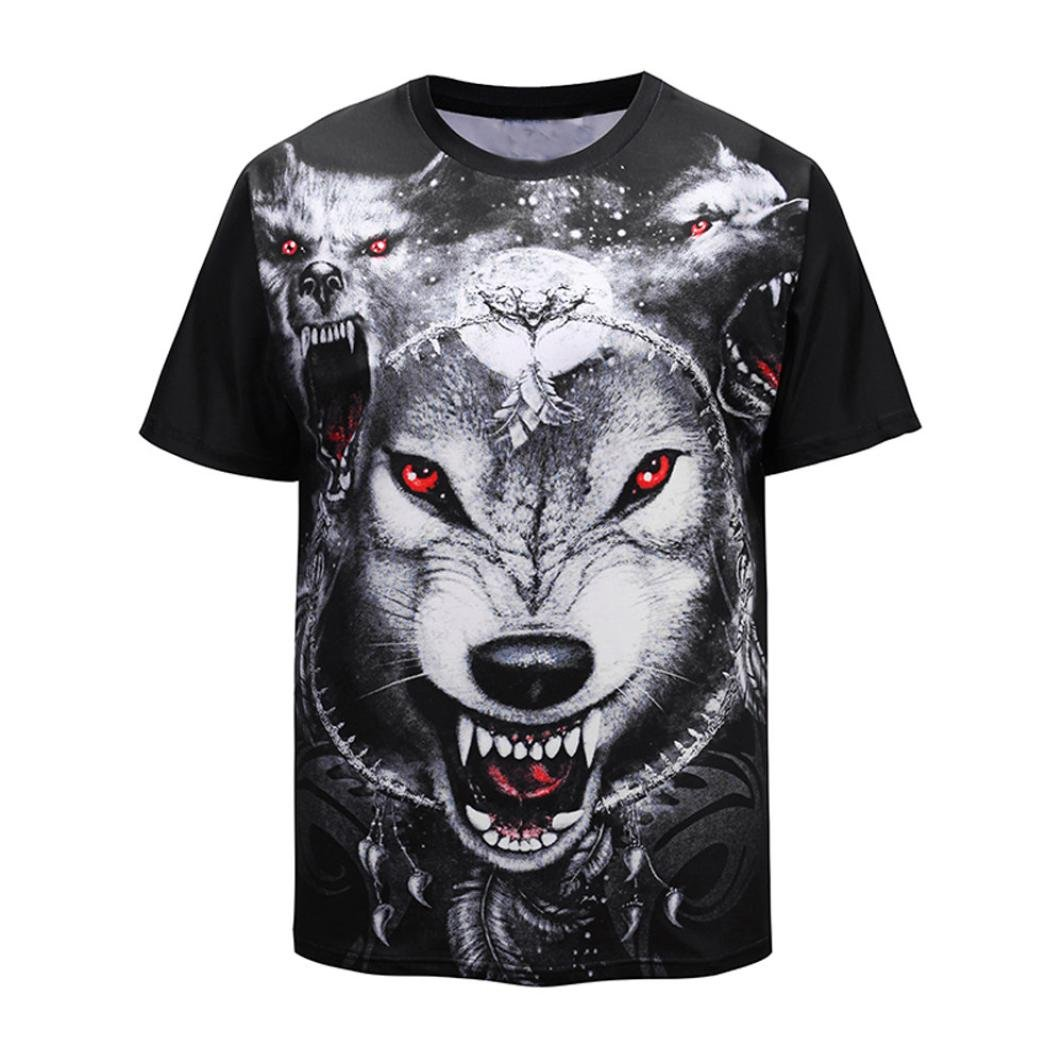 a136cea0dbcf VPASS Personality Mens Heavy Cotton 3D Print Wolves T-Shirt Casual Slim  Valueweight Crew Neck Short-Sleeved Shirt Top Blouse Off-White   Amazon.co.uk  ...