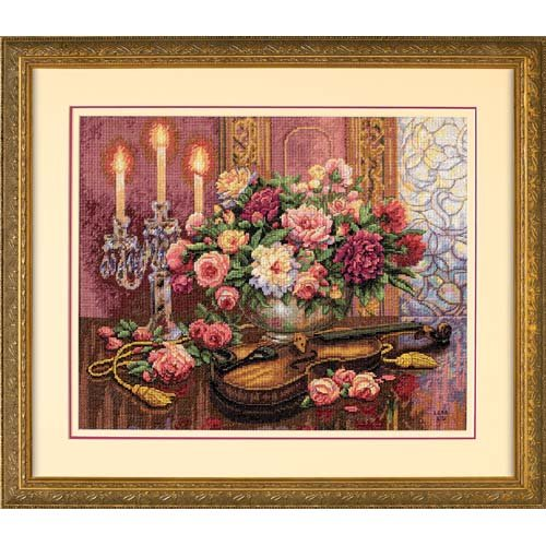 Floral Cross Kit (Gold Collection Romantic Floral Counted Cross Stitch Kit (16
