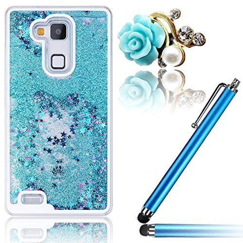 Vandot Sparkly Liquid Stars Sand Glitter Quicksand Flowing Water Moving Flows Dynamic Drift Transparent Plastic Hard Cover Case for Samsung Galaxy S5 I9600 - Blue + Bling Rose Anti Dust Plug