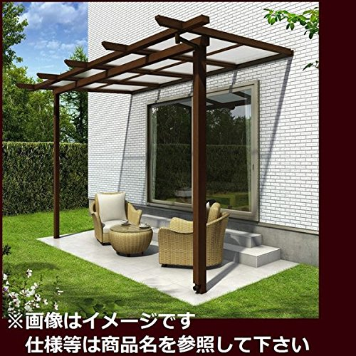 YKK ap サザンテラス パーゴラタイプ 関東間 600N/m2 3.5間×6尺 (2連結) ポリカ屋根  ショコラウォールナット/アースブルー B01E31UNQW 本体カラー:ショコラウォールナット/アースブルー 本体カラー:ショコラウォールナット/アースブルー