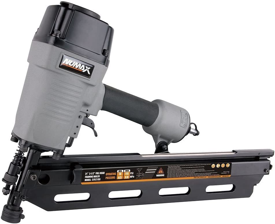 NuMax SFR2190 Pneumatic 21 Degree 3-1 2 Full Round Head Framing Nailer Ergonomic and Lightweight Nail Gun with Tool-Free Depth Adjust and No Mar Tip