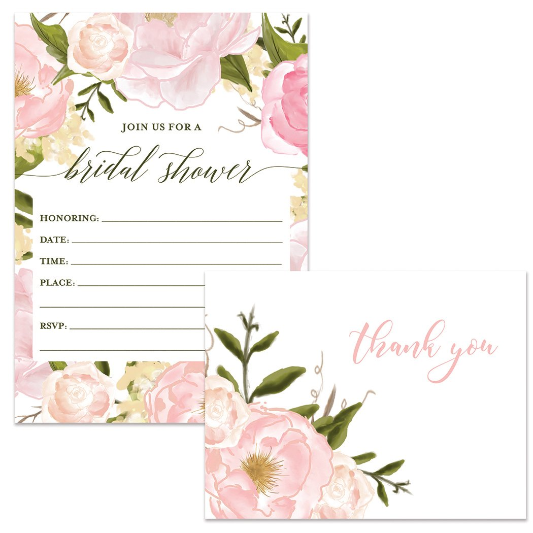 Bridal Shower Invitations ( 50 ) & Thank You Cards ( 50 ) Beautiful Matching Set with Envelopes Bride Wedding Party Maid of Honor Fill-in Guest Invites & Folded Thank You Notes Excellent Value Pair