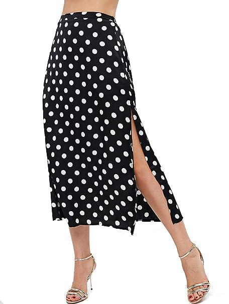 modern design reliable quality authorized site ZAFUL Women's Polka Dot Side Slit Midi Skirt High Waist A ...