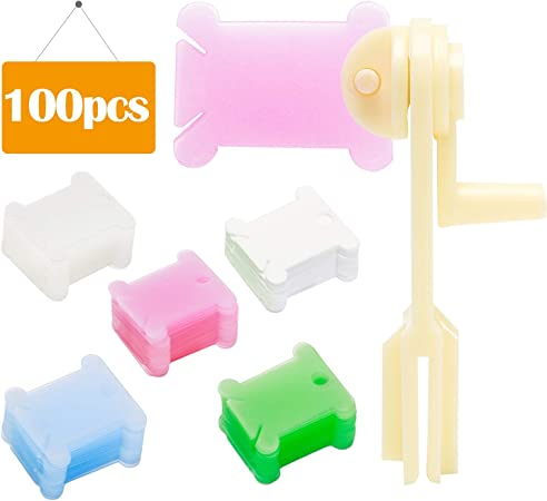 LVE 100 Pcs Thread Card Plastic Embroidery Floss Bobbins Card Holder DIY Sewing Storage