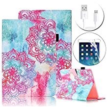 iPad 6/ iPad Air 2 Wallet Case Cover, Bonice Apple iPad Air 2 Premium Pattern Leather Stand Folio Case Magnetic Snap with Card Slots Shockproof Protective Cover for Apple iPad 6 - Mandala Flowers