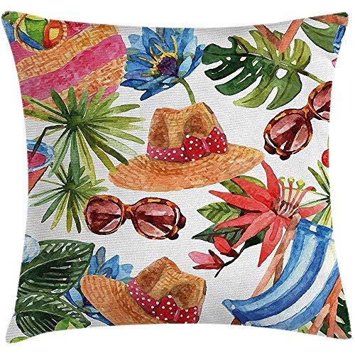 Watercolor Decor Throw Pillow Cushion Cover, Tropic Summer Holiday Beach Themed Travel Charm Coctails Hats Sunglasses Print, Decorative Cushion Cover Pillowcase, Multi 18 x 18 Inch Colorful