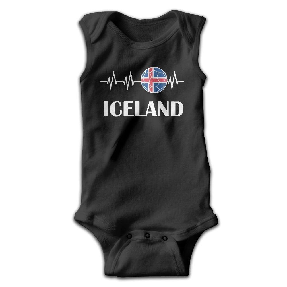 Soccer Heartbeat I Love Iceland Baby Newborn Crawling Suit Sleeveless Romper Bodysuit Onesies Jumpsuit Black