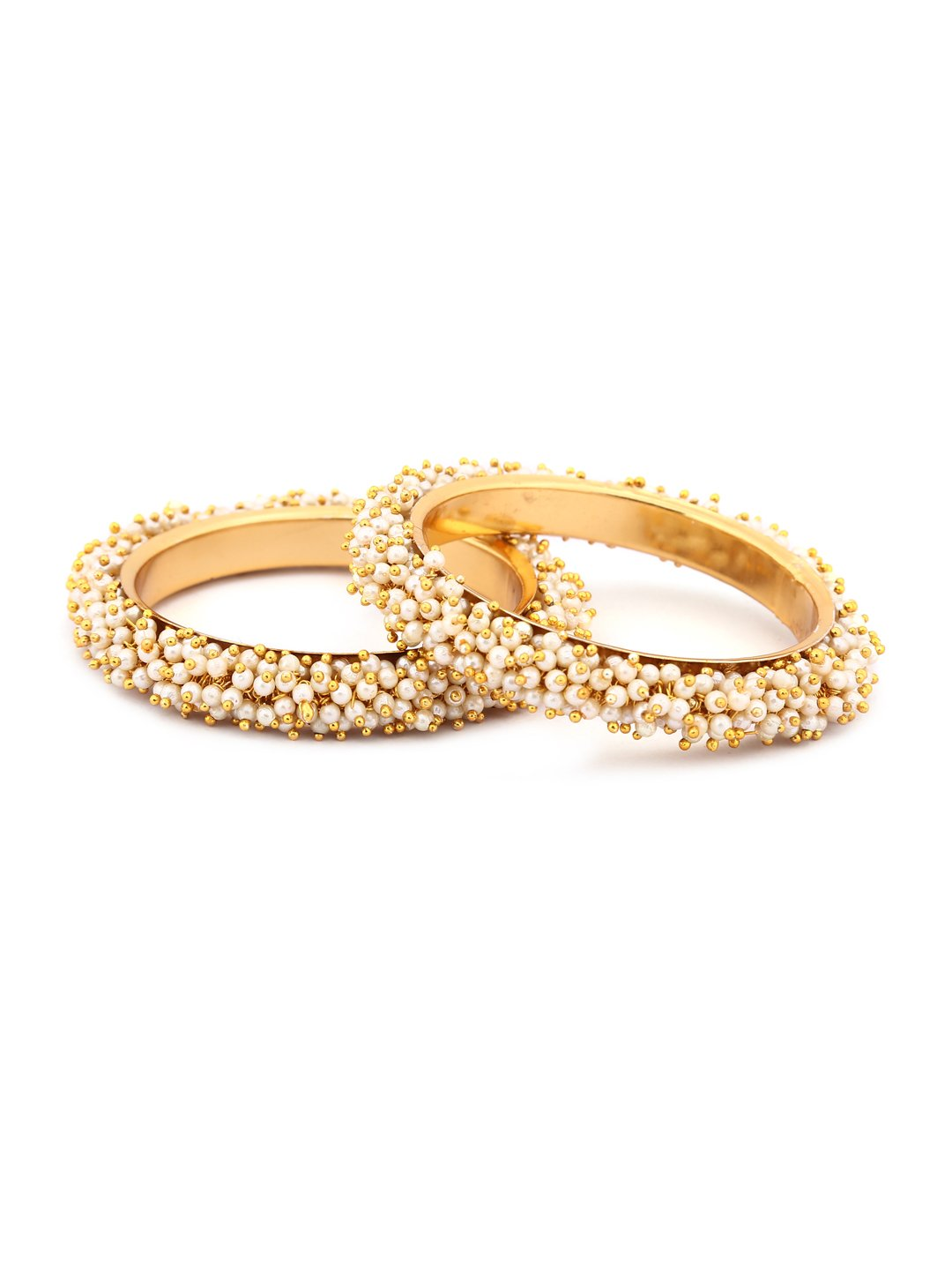 Rubans Gold Plated Traditional Indian Jewelry Bollywood Ethnic Wedding Bridal Pearls Set of 2 Bangles for Women 2.6