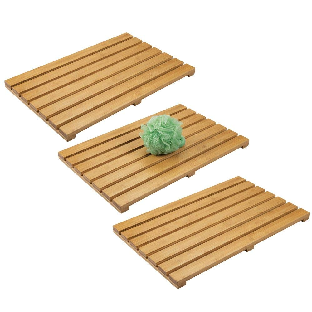 mDesign 100% Bamboo Non-Slip Rectangular Spa Bath Mat - for Bathroom Showers, Bathtubs, Floors - Slatted Design, Eco-Friendly - Indoor and Outdoor Use - 3 Pack - Natural Light Wood